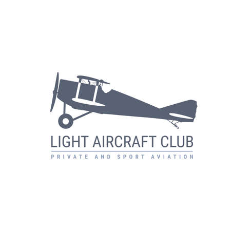 Light aviation emblem with retro airplane, biplane side view, propeller aircraft , vector illustration
