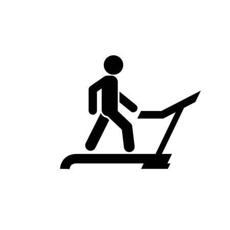 Man runs on treadmill in gym, physical exercise icon, weight loss and diet, sport and training vector illustration