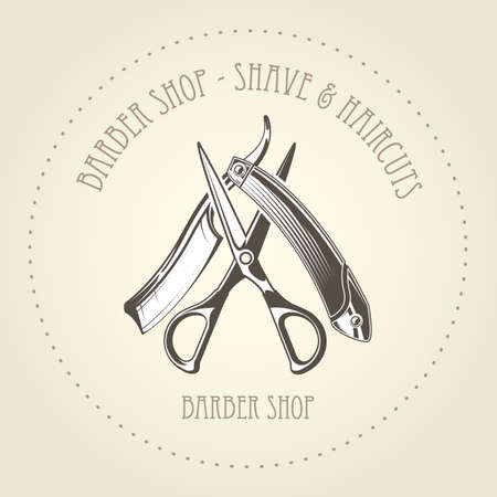 Barbershop emblem with old straight razor and scissors overlapping, barber shop vector Stock Illustratie