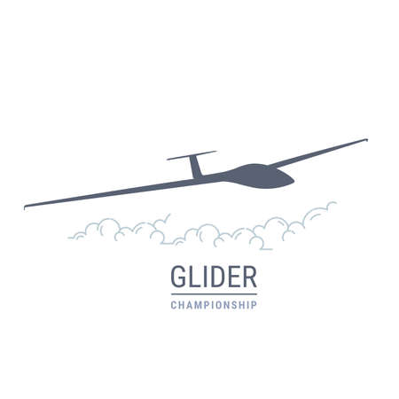 Gliding flight emblem with sailplane, soaring glider silhouette, none motive-powered aircraft vector illustration Illusztráció