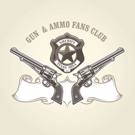 Wild west emblem with pistols and sheriff badge, cowboy revolvers, two crossed vintage handguns, six shooter vector illustration