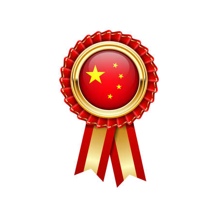 Red rosette with China flag in gold badge, award icon or quality symbol with flag of China
