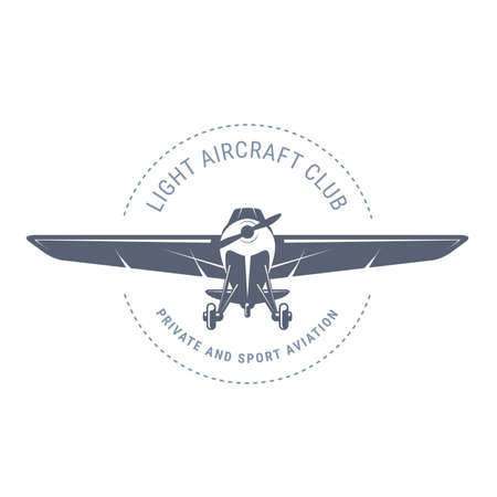 Light aviation emblem with biplane, vintage airplane icon, propeller aircraft front view Stock Illustratie