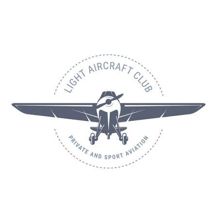 Light aviation emblem with biplane, vintage airplane icon, propeller aircraft front view Illusztráció