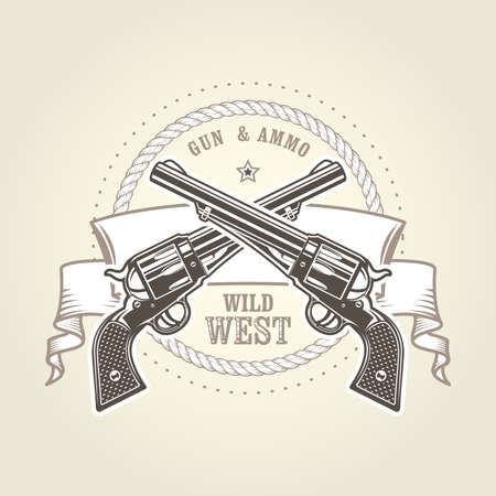 Emblem with cowboy revolver, two crossed vintage six shooter, wild west symbol with pistols, handgun vector illustration Illustration