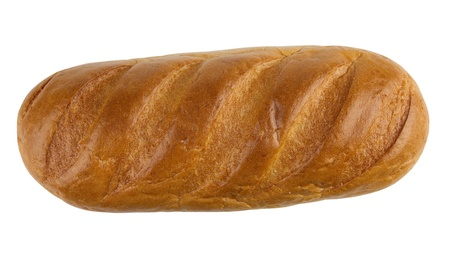 Bread loaf isolated on white background, top view