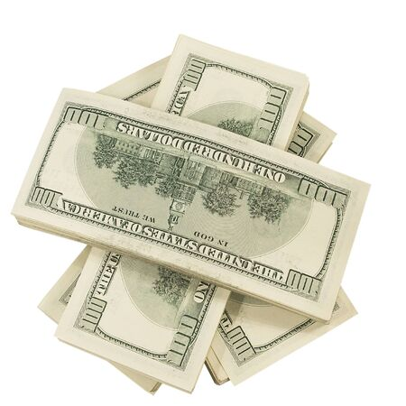 money pile: Group money top view,  isolated on white background Stock Photo