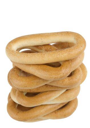 bublik: Stack of bagel isolated on white background,Tower of Bublik