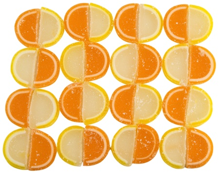 solated: Background of Fruit Candy solated on white background, top view Stock Photo