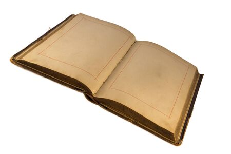 bibliomania: Open old  book with empty pages.Isolated on  white background.