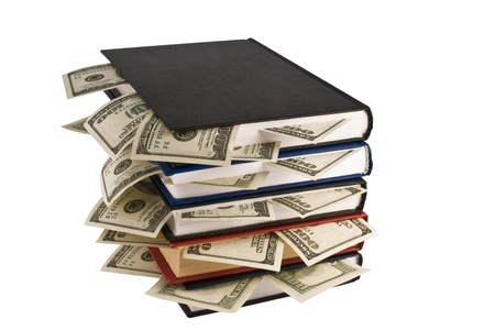 college fund savings: Dollars in books, isolated on white background, business training