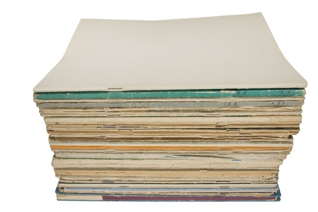 magazine stack: Stack of old magazines with blank cover, isolated on white background. Pile of blank magazines Stock Photo
