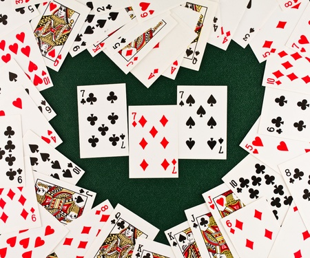 Playing cards  in  Heart-shaped photo