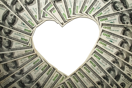 greenbacks: Frame of dollars in form of heart,Isolated on white background Stock Photo