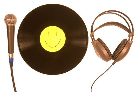 aural: Vinyl record, Microphone, Headphones. isolated on white background