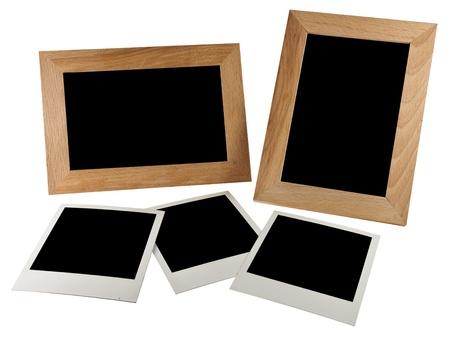 Empty photo in photoframe,  isolated  on white background photo