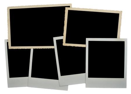 Pile of empty photo frames, isolated  on white background photo