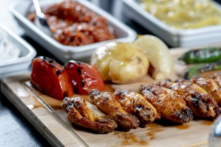 Chicken grill meat stock photo
