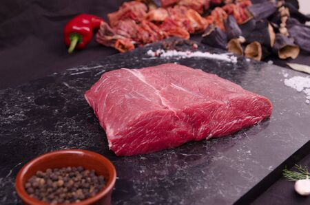 Fresh and raw meat stock photo