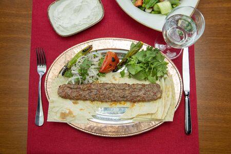 Traditional Turkish adana kebab Stock Photo