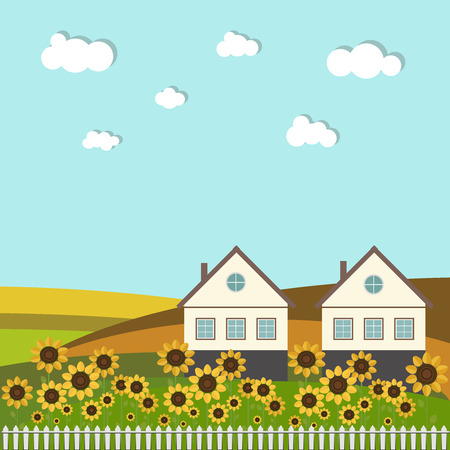 houses: Colorful Fields With Country Houses And Sunflowers Illustration