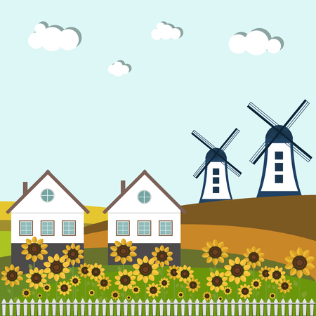Colorful Fields With Country Houses, Windmills And Sunflowers