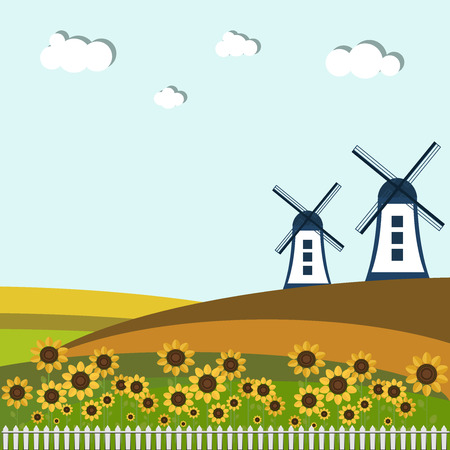 windmills: Colorful Fields With Windmills And Sunflowers Illustration