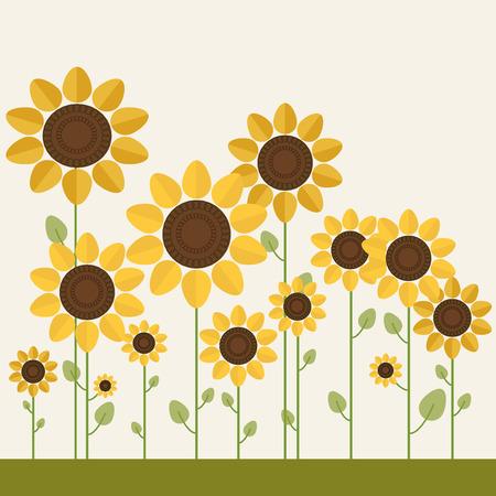 Kleurrijke Illustratie Met Abstracte Zonnebloemen