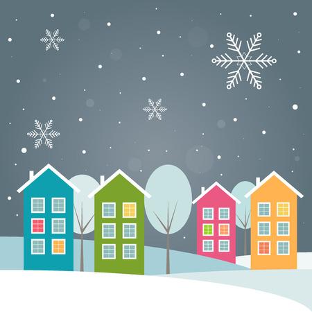 case colorate: Case colorate, Tema di inverno Vettoriali