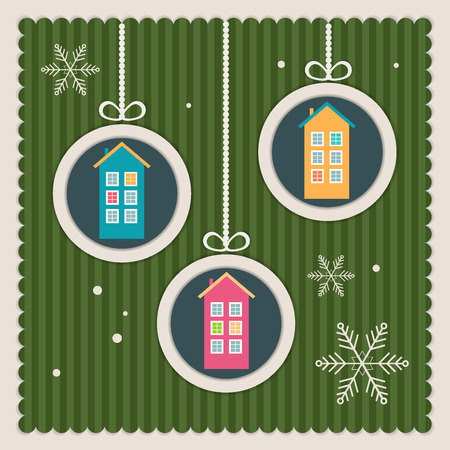 complimentary: Real Estate Christmas Card With Colorful Houses And Snowflakes Illustration