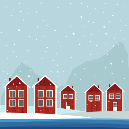 Red And White Wooden Scandinavian Houses. Winter Theme