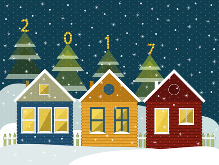 Colorful Wooden Houses In The Mountains. Merry Christmas And Happy New Year Cards Illustration