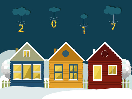 wooden houses: Colorful Wooden Houses In The Mountains. Merry Christmas And Happy New Year Cards Illustration