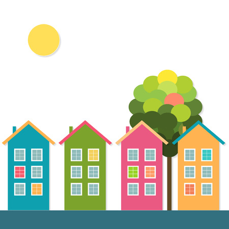 Colorful Houses For Sale  Rent. Real Estate Concept