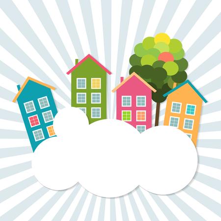 Case colorate in vendita / affitto. Concetto di immobile