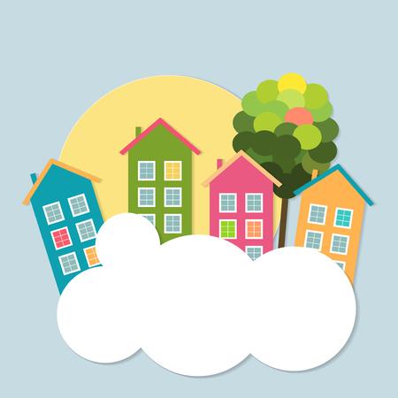 case colorate: Case colorate in vendita  affitto. Concetto di immobile Vettoriali