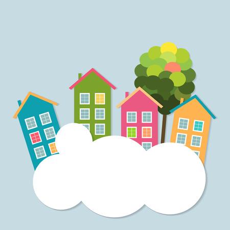 カラフルな住宅販売レンタルします。不動産の概念  イラスト・ベクター素材