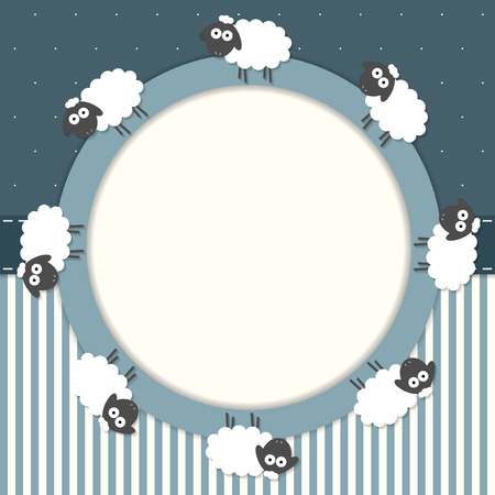 Funny Invitation Card With Sheep, Stripes And Stars Illustration