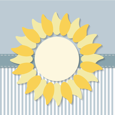 Invitation Card With Abstract Sun And Stripes Illustration