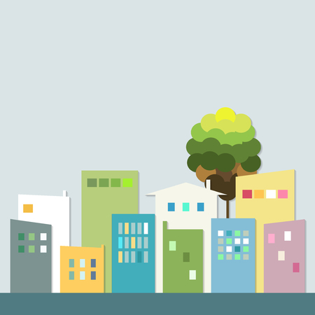 healthy living: Modern Colorful City. Healthy Living Quarter
