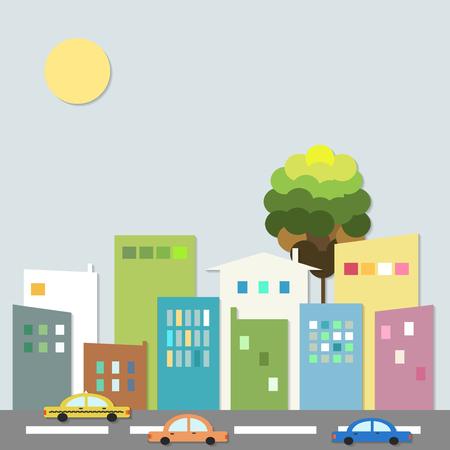 Città moderna con automobili e case colorate. Healthy Living Concept.
