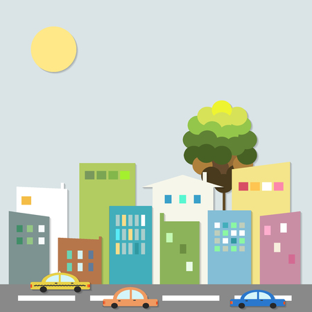 Modern City With Cars And Colorful Houses. Healthy Living Concept. Illustration