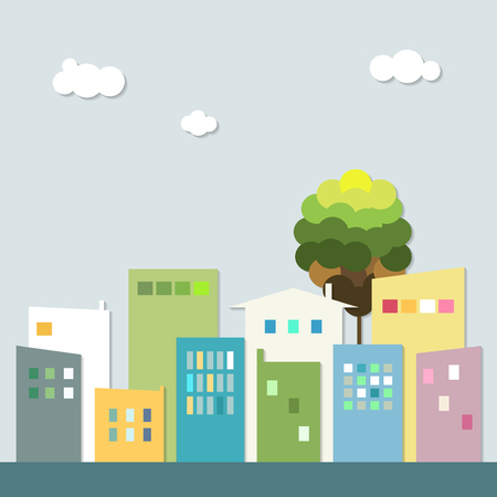 Modern City With Colorful Houses. Healthy Living Concept.