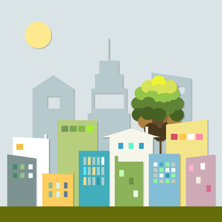 近代的なカラフルな都市のスカイライン。健康的な生活の概念。