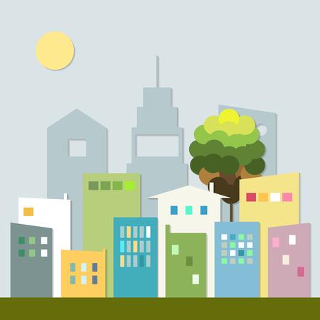 스카이 라인와 현대적인 다채로운 도시. 건강한 생활 개념. 일러스트