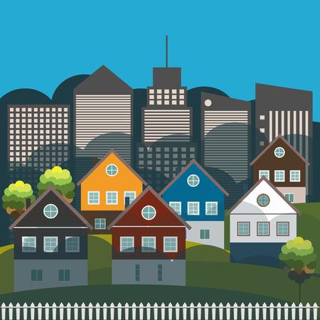 Colorful City, Real Estate Concept, Sunrise Illustration