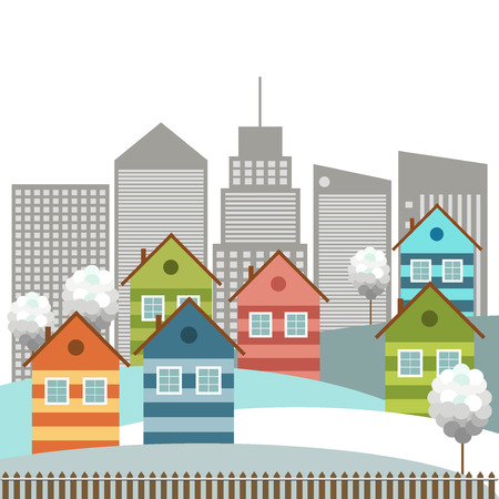 Modern Colorful City, Winter Theme