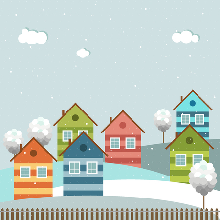 Colorful City, Winter Theme Illustration