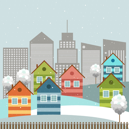 merry mood: Colorful City, Winter Theme Illustration