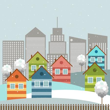 Colorful City, Winter Theme Illustration